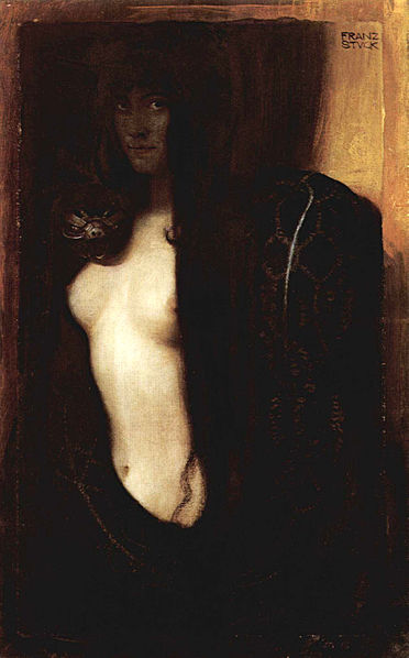 372px Franz von Stuck   Die Suende 1893 slang schlange serpent femme fatale Androgynie en femme fatale bij Franz von Stuck 